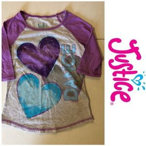 Justice Purple Heart top Size 7